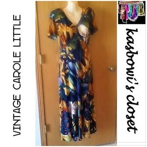 Vintage Tropical Print Maxi Dress